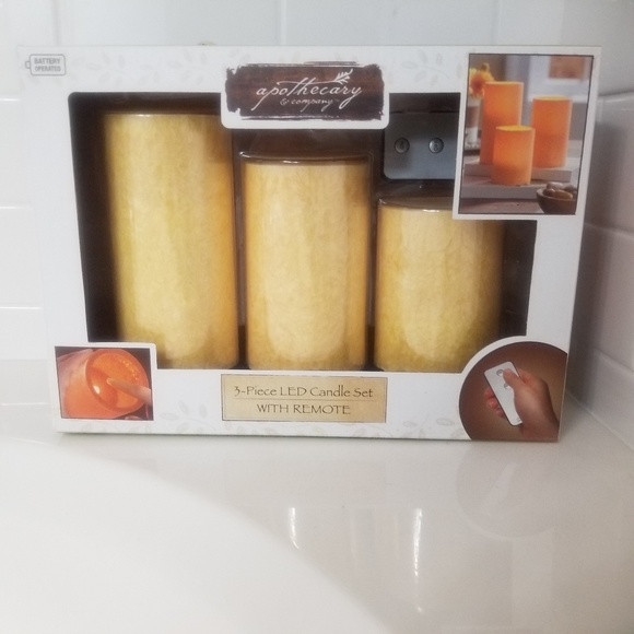 Apothecary Accents Apothecary 3 Piece Led Candle Set Poshmark